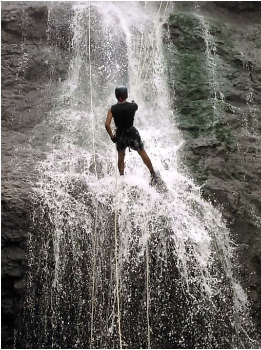 Waterfall rappelling at Bekare Bhivpuri