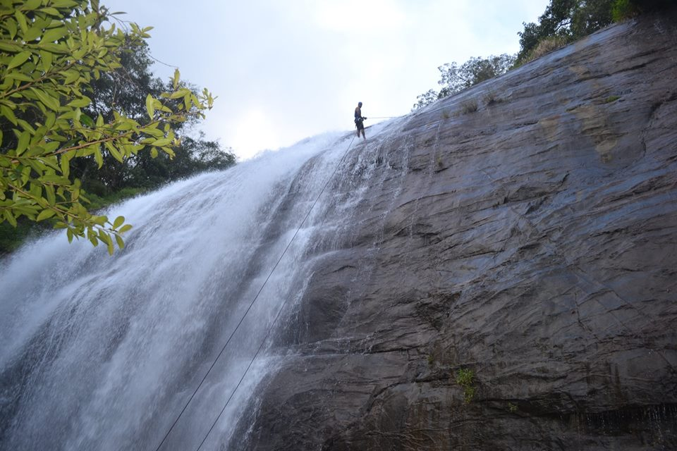waterfall rappelling at Chelavara Falls 10