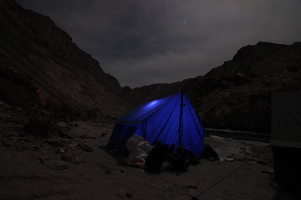 Camping at frozen Zanskar River