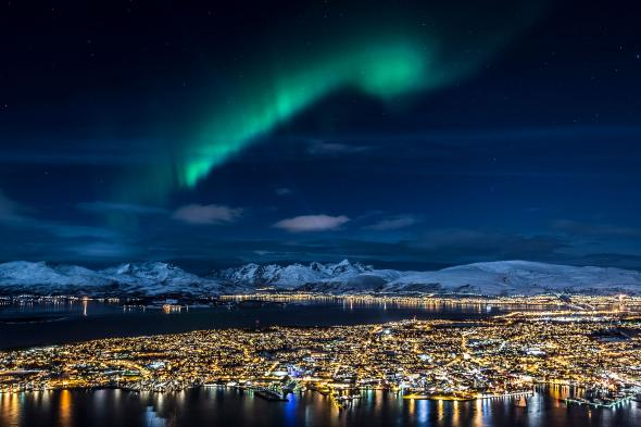 Aurora borealis over Tromso, Norway