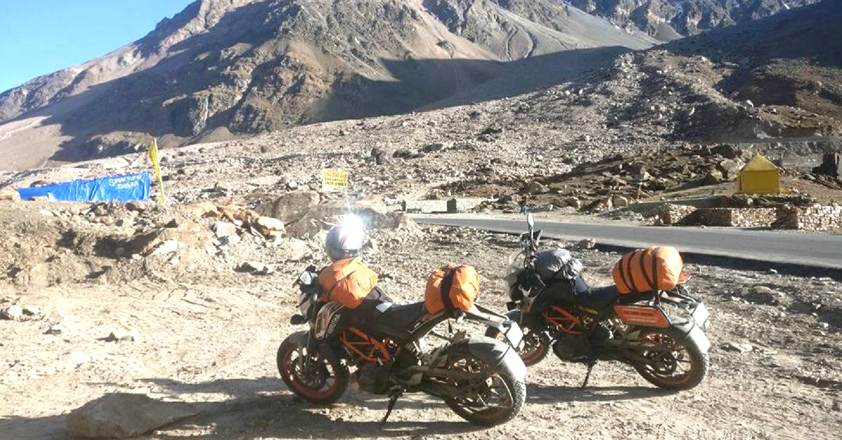 Shubra-and-Amrutha-rode-KTM-Duke-390-motorcycles-for-their-trip.