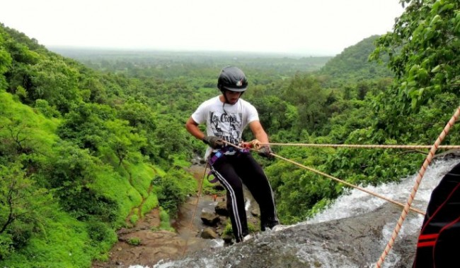 Kondana Caves Waterfall Rappelling india